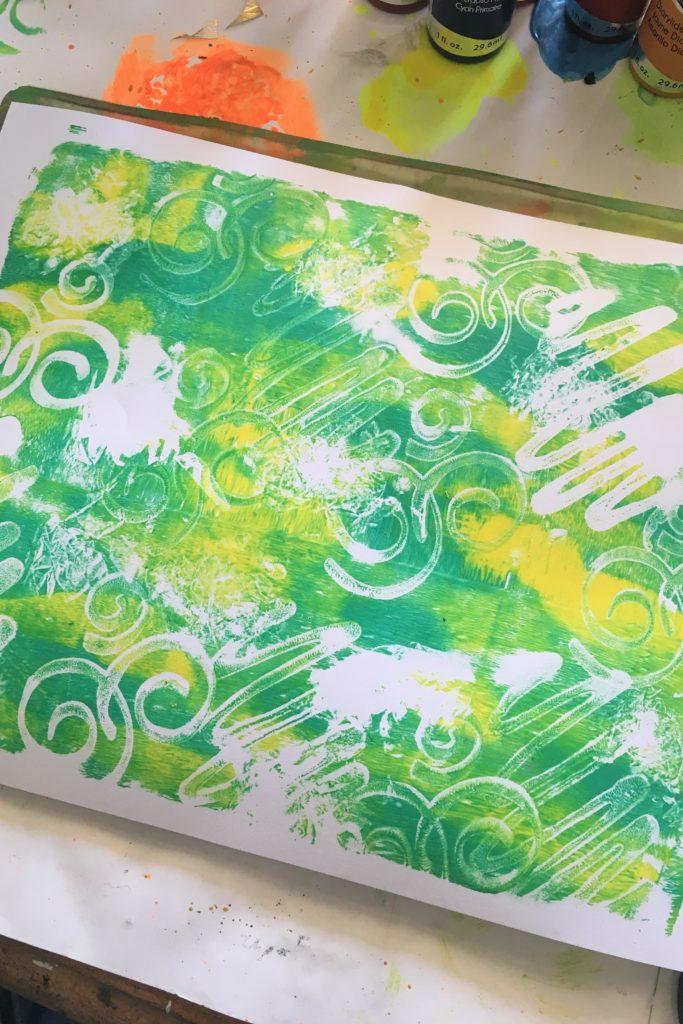 Gel Press and Deco Art Fluid Acrylics