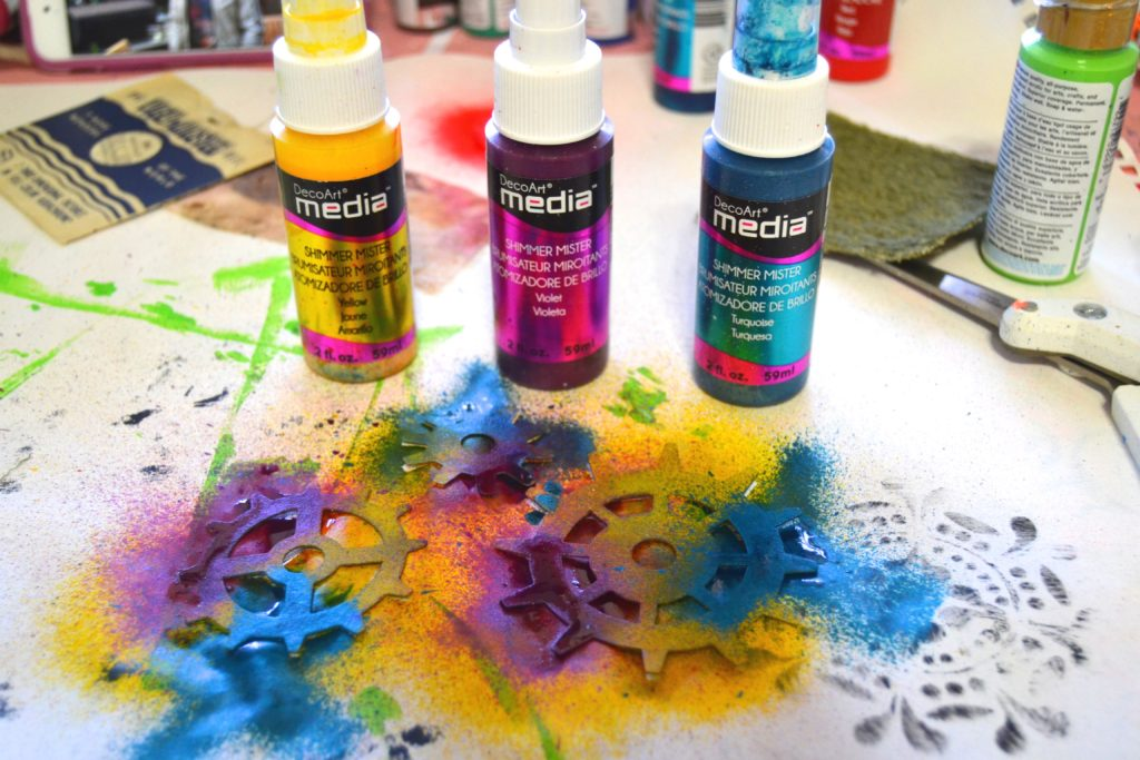 DecoArt Media Misters gave my chipboard gears a POP of color and a little shimmer.