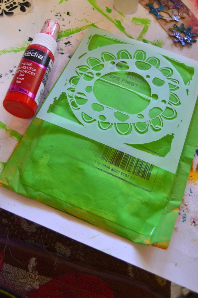 Once my green was dry, I had fun with paint and misters just adding layers to my background.